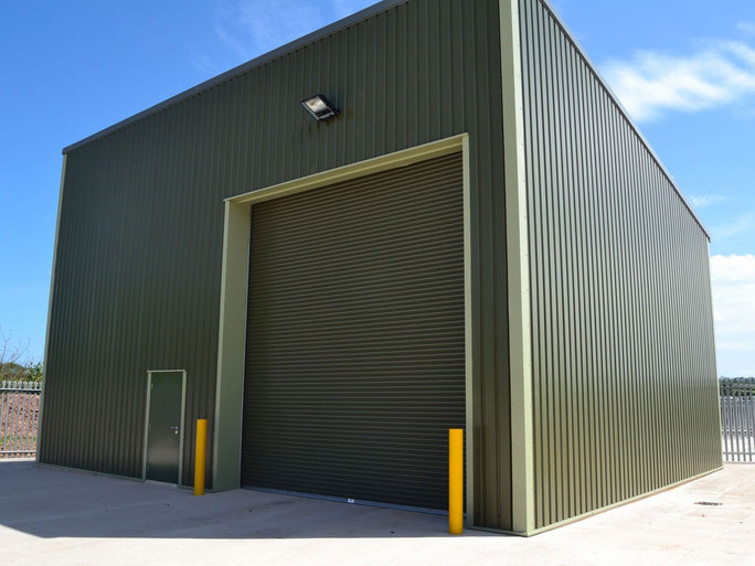 One of our industrial roller-shutter doors as part of a storage unit