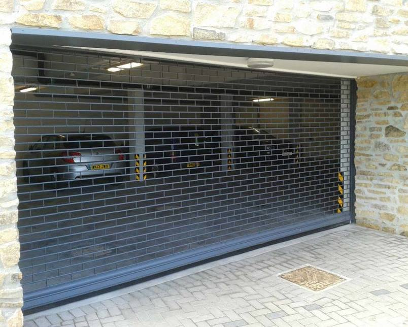 One of our Secureovision roller shutters installed in a carpark.