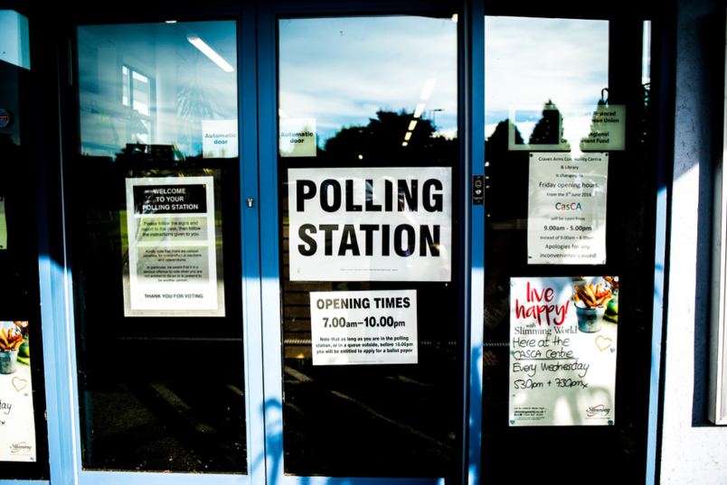 Polling station sign on an automated door